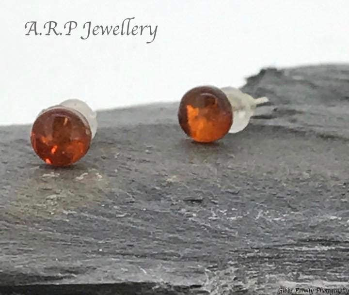 Natural Raw Amber Earrings on a beautiful sterling silver studs