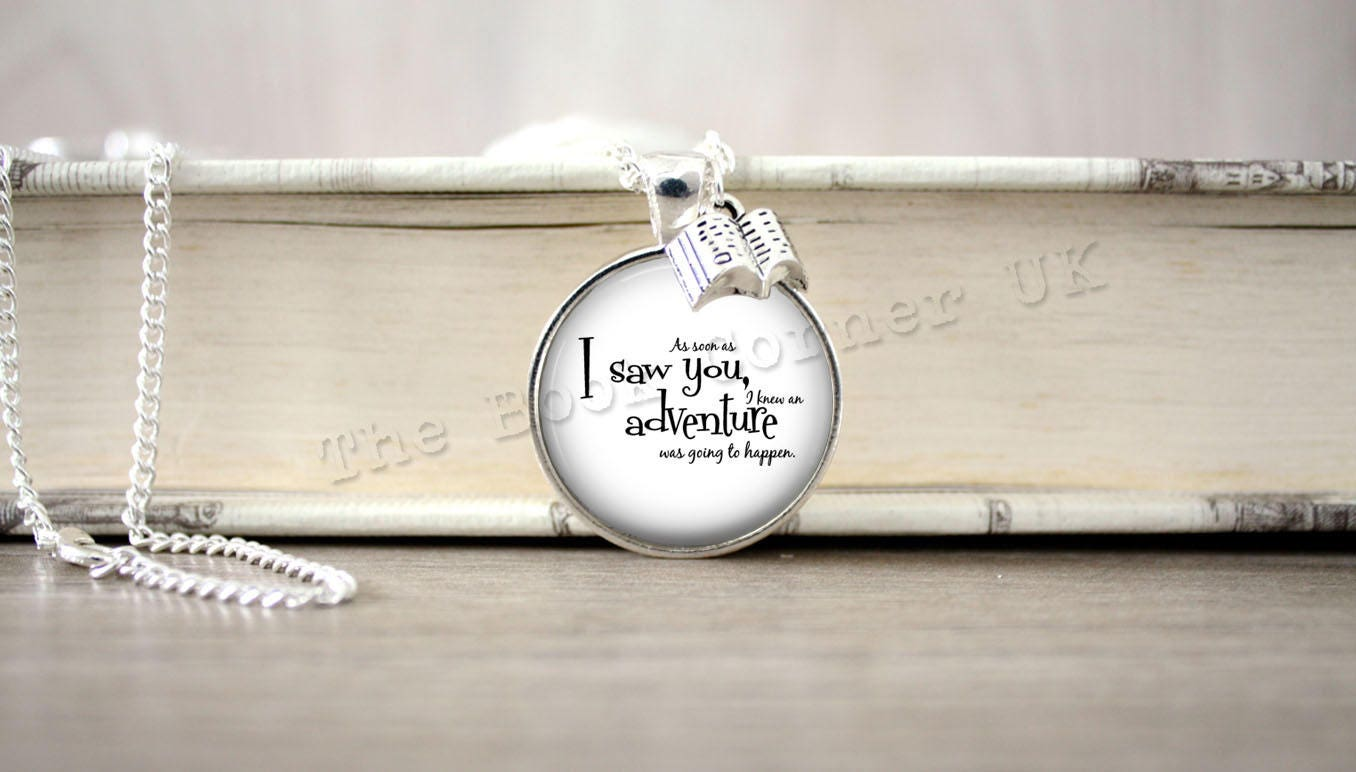 Pooh Bear As Soon As I Saw You Winnie the Pooh, Adventure Quote Charm Necklace, Key ring, Keychain
