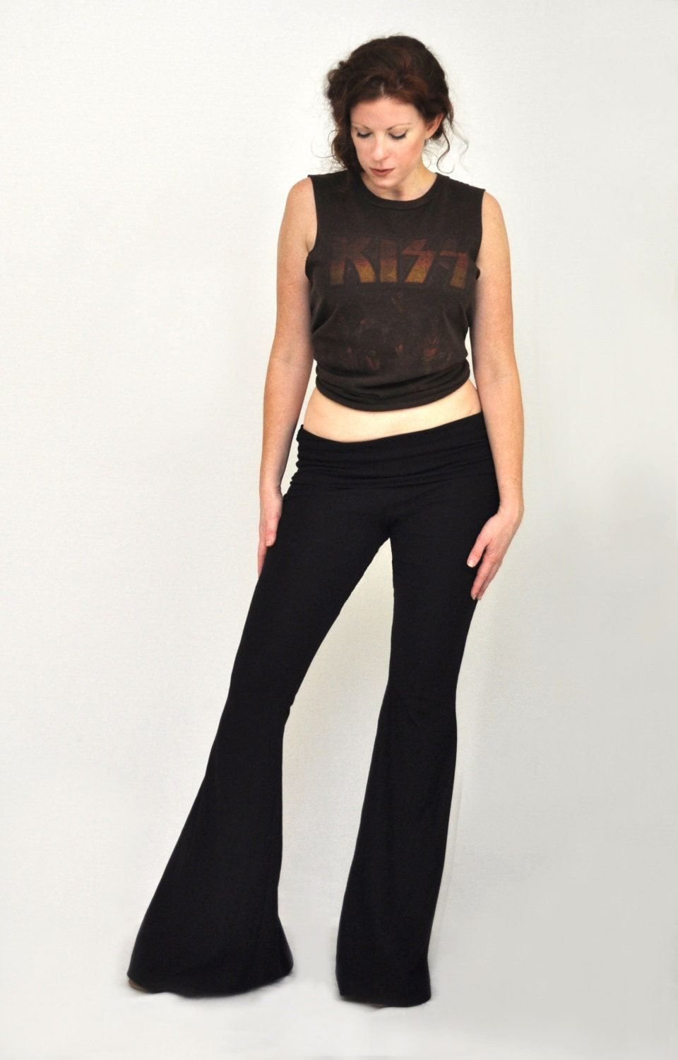 Foldover Waistband Bell Bottoms Low Cut Flare Leg Pants By