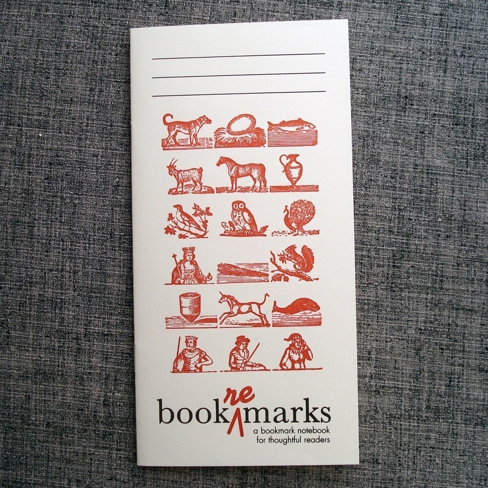 book re marks, a bookmark notebook for thoughtful readers (letterpress) / Alphabet Woodcut 3-pack