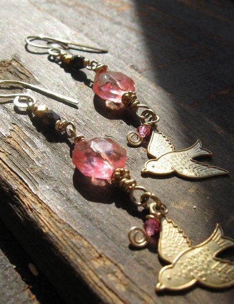 Summer Pink Cherry Quartz Beaded Earrings With Brass Bird Charms - so pretty for summer
