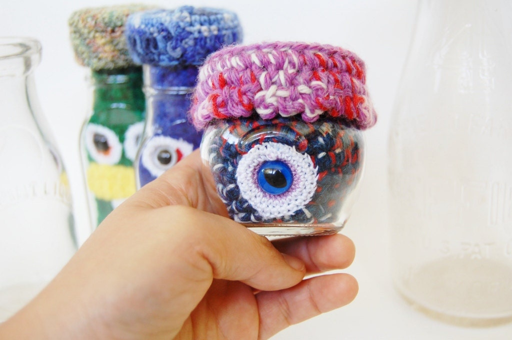 Tiny Monster Under Glass OOAK Crocheted Upcycled Monster Collectible
