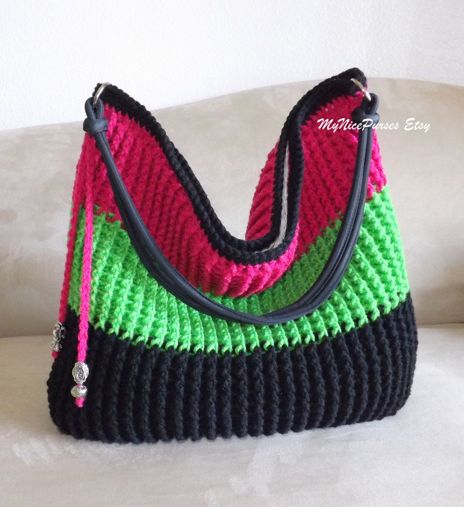 Crochet over sized shoulder bag beaded bag crochet by ...