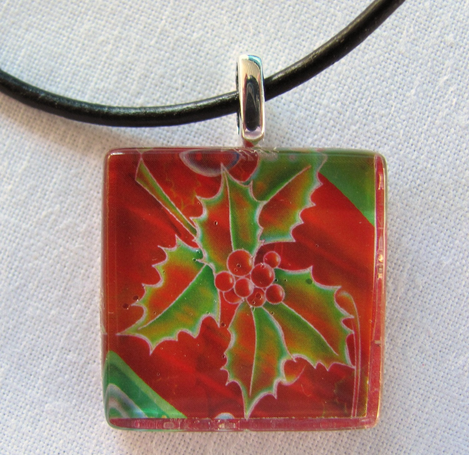 Christmas Holly- Red Green Glass Tile Pendant