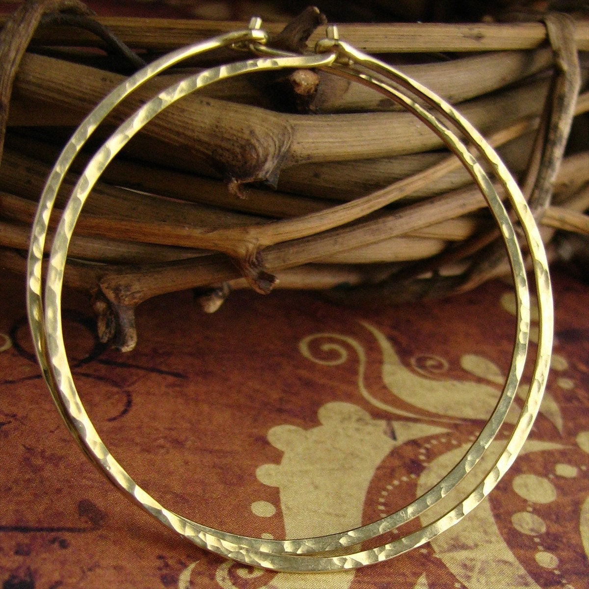 Solid 18k Yellow Gold Hammered Hoop Earrings