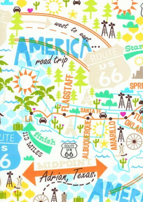Route Usa Map Multi Fabric By The