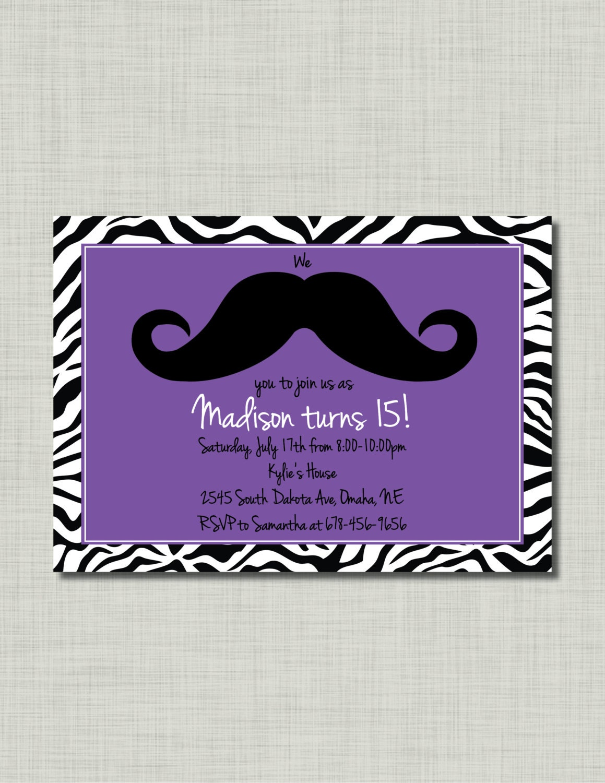 Girl mustache zebra invitation birthday purple by busychickadees - Anniversaire ado fille ...