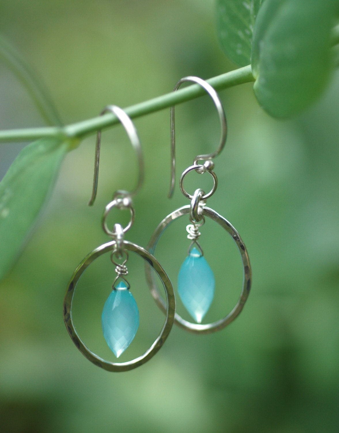 Fresh Morning Dew Faceted Blue Dew Drop Chalcedony And Hammered Sterling Silver Oval Earrings - ApsaraJewelryDesigns