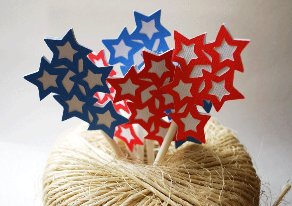 Starburst INDEPENDENCE DAY 4th of JULY Cupcake Toppers, In Red, White, and Blue, Set of 12 By Your Little Cupcake