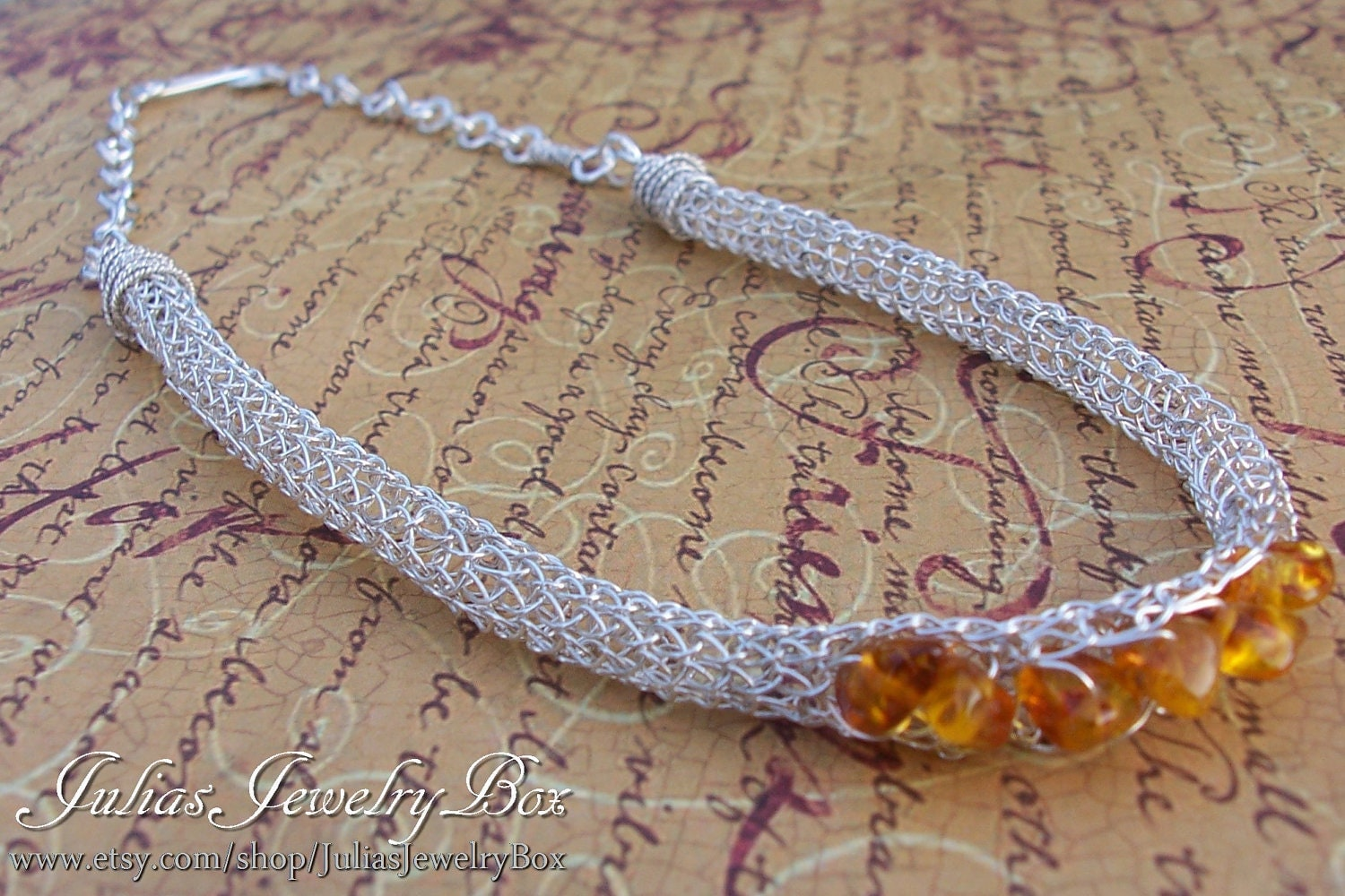 Knitting With Wire Instructions : Viking knit and baltic amber necklace wire by juliasjewelrybox