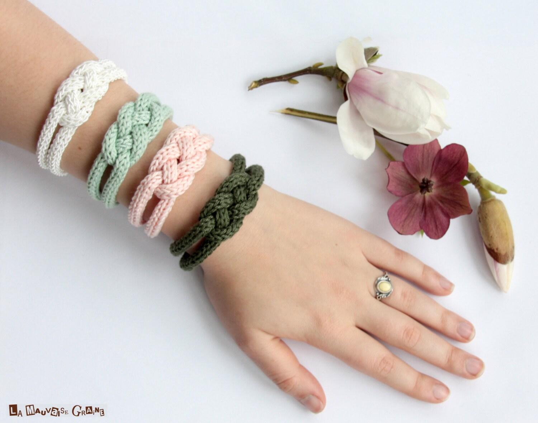 """Bracelet de tricotin tressé en coton - série """"Shabby chic"""""""