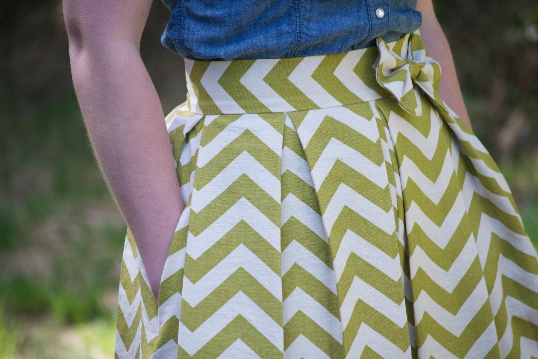 Pleated Chevron Skirt - Grass Green - kelliefalconerdesign
