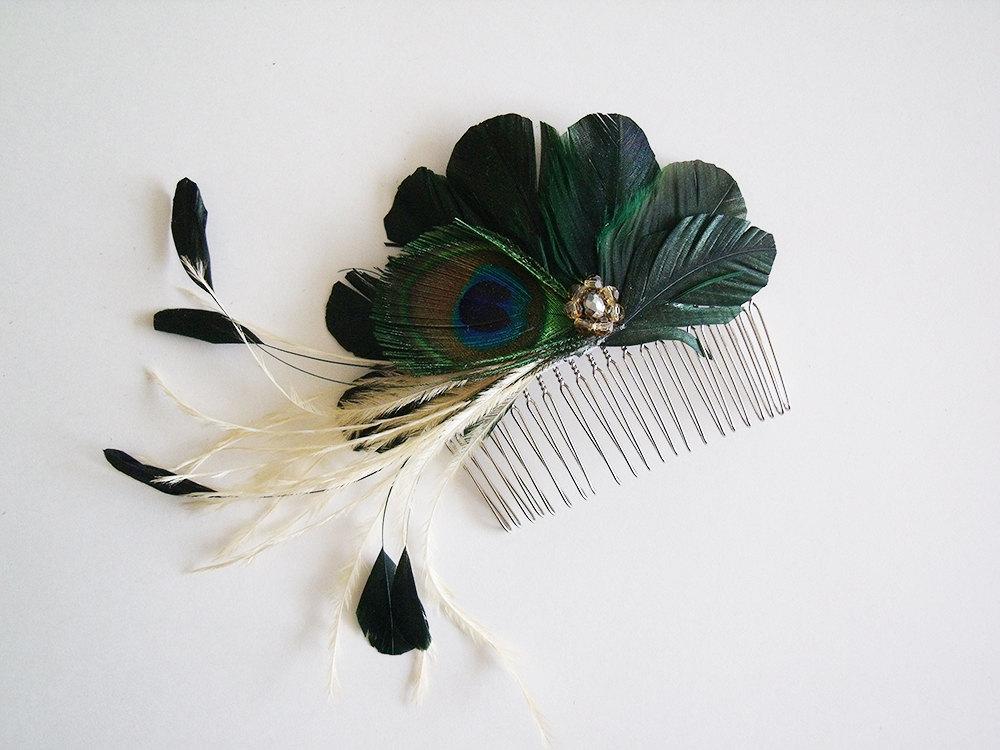 Peacock Bridal Fascinator - Dark Green Bridal Fascinator - Bridal Fascinator - Bridesmaid Fascinator - Dark Green Bridesmaid Fascinator - fabfascinator