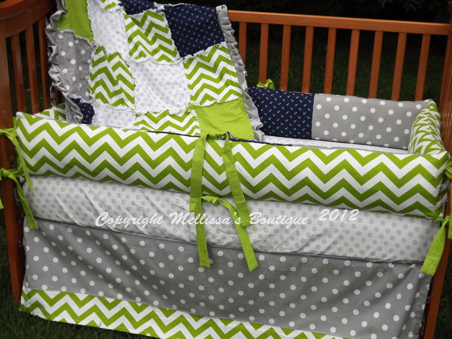 Custom lime chartreuse grey and navy designer by mellissasboutique