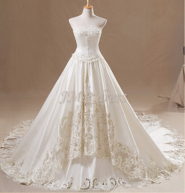 Ball gown  /Strapless  /Applique /Beaded /Hollow Out/Cathedral /wedding dresses/wedding gown - JMRdress