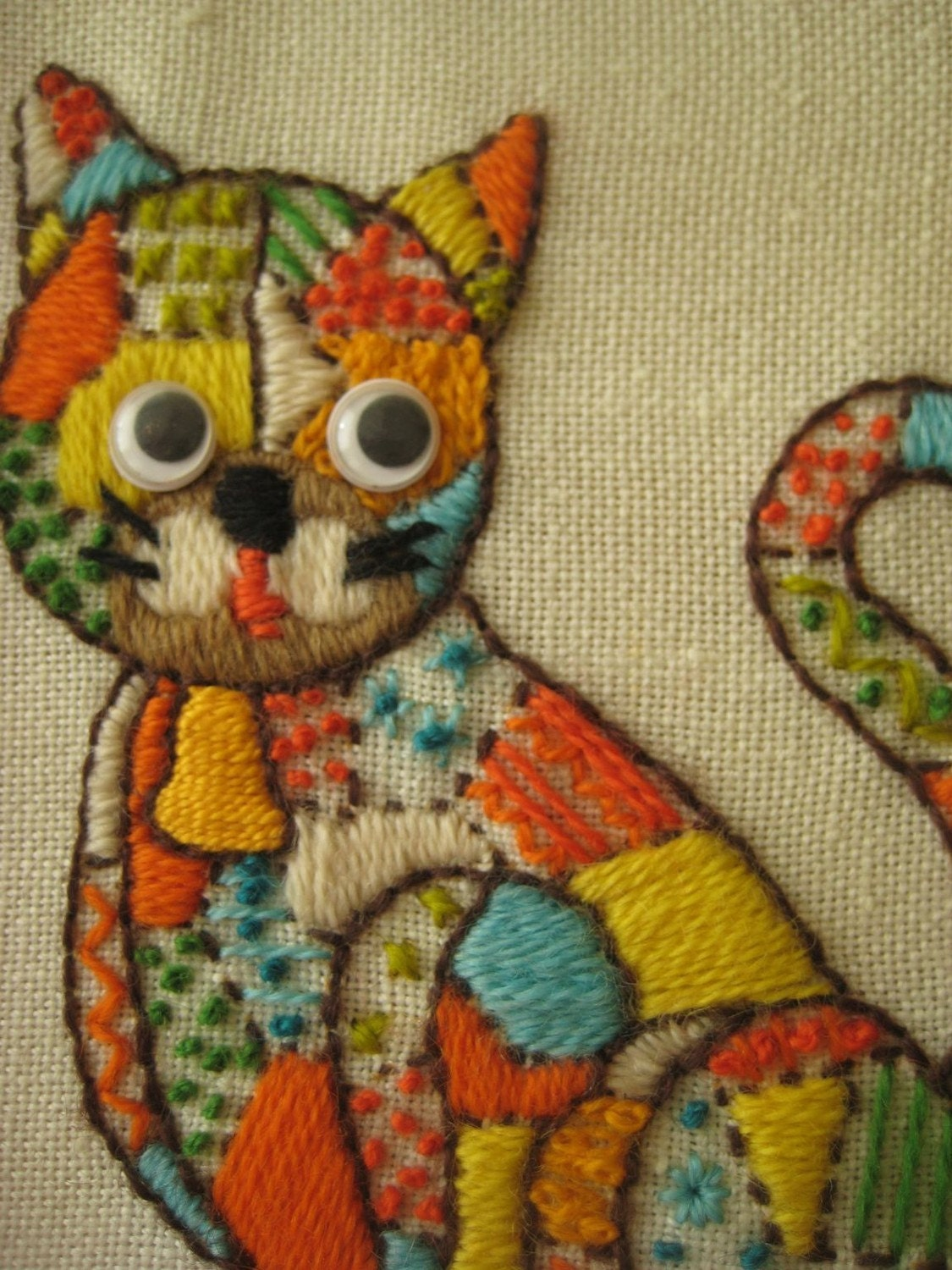 Vintage Multicolored Crewel/Embroidered Cat, with Googly Eyes, Framed