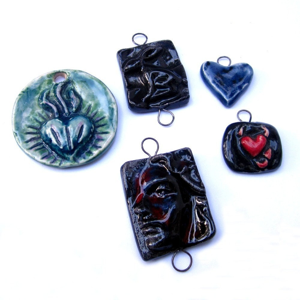 Ceramic Pendants Bunny, Hearts,Lady,Devil Heart Handmade Jeraluna