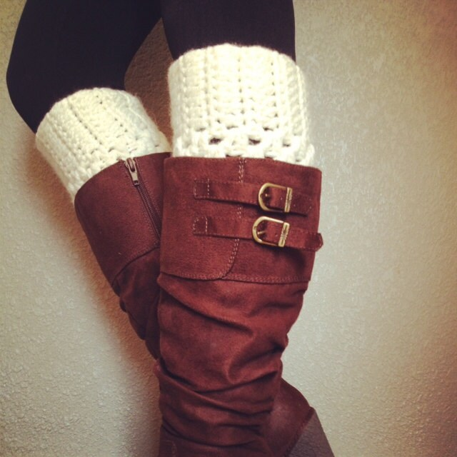 Best Selling Crochet Boot Cuffs in Cream - Love2Hook