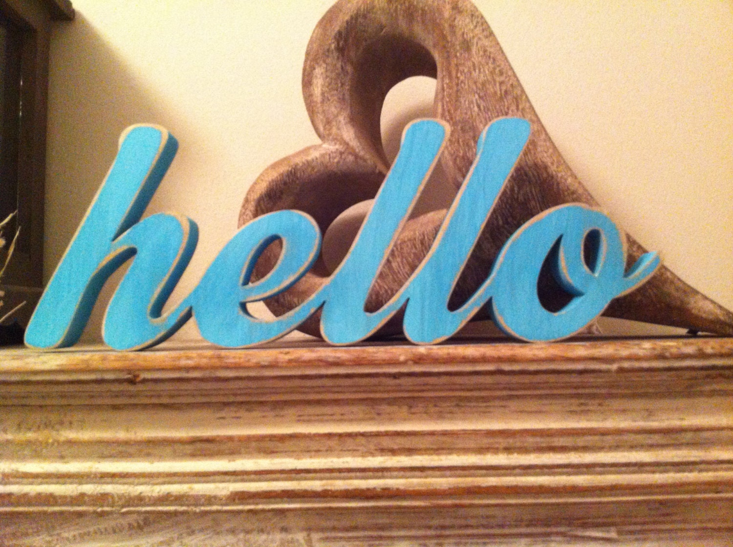 Free standing wooden letters hello new script by lovelettersme for Standing wood letters to paint