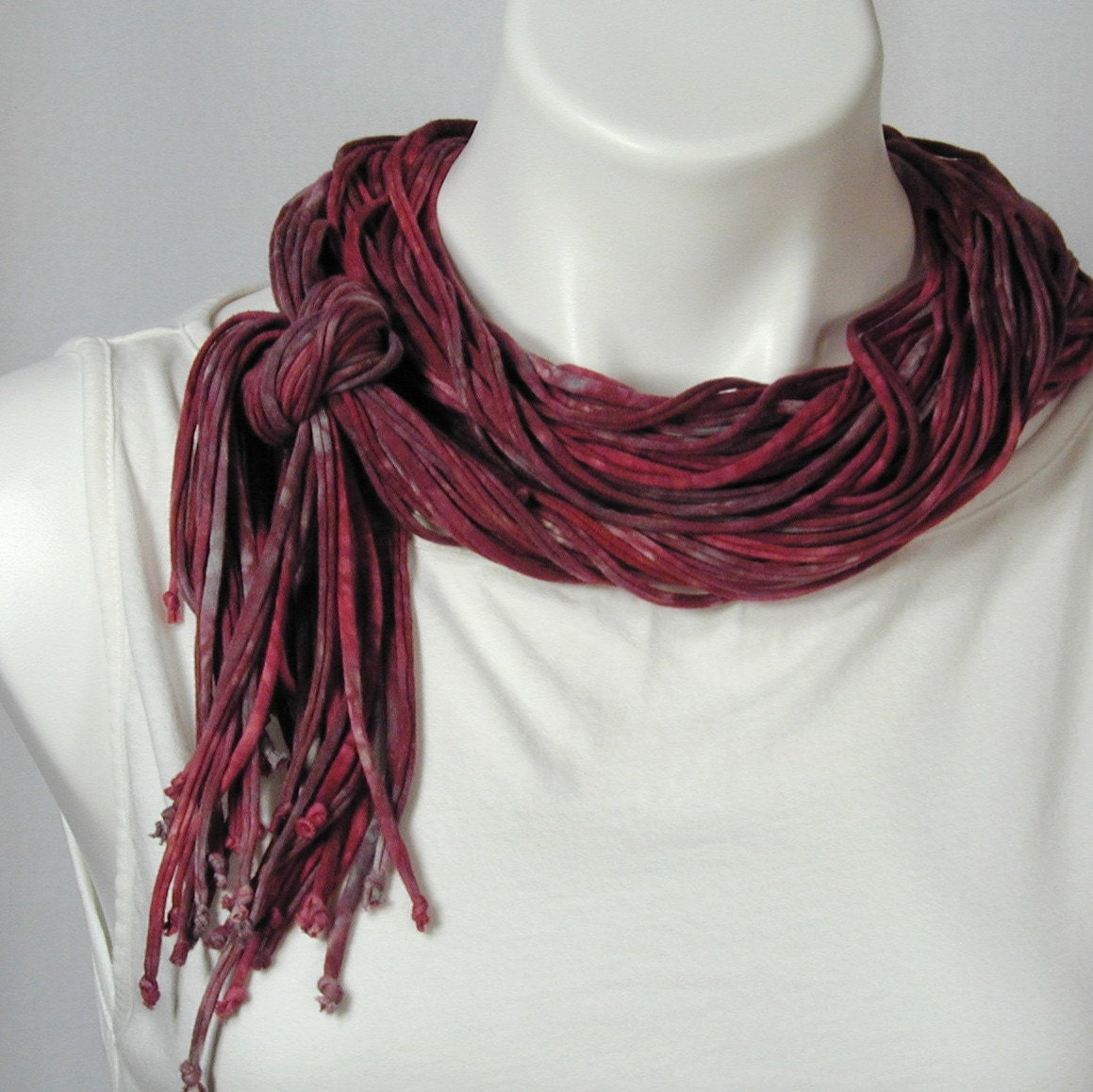 The Soba Scarf in Dusky Red and Charcoal