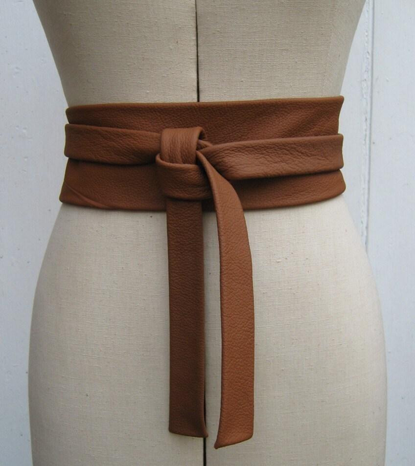caramel leather knot wrap belt by elizabethkelly on etsy