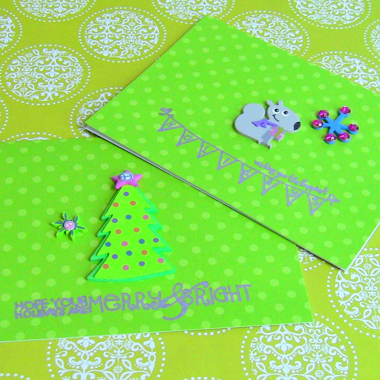 Great for Kids Set of 8 Lime Green Polka Dotted Winter Holidays / Christmas Cards With Groovy Stickers and Messages - Ready To Ship
