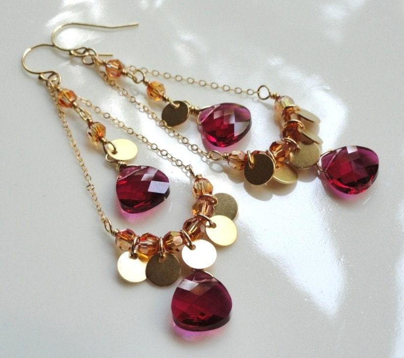 Suri   ...Indian inspired ruby red and chili pepper orange Swarovski crystal matte gold disk chandelier earrings