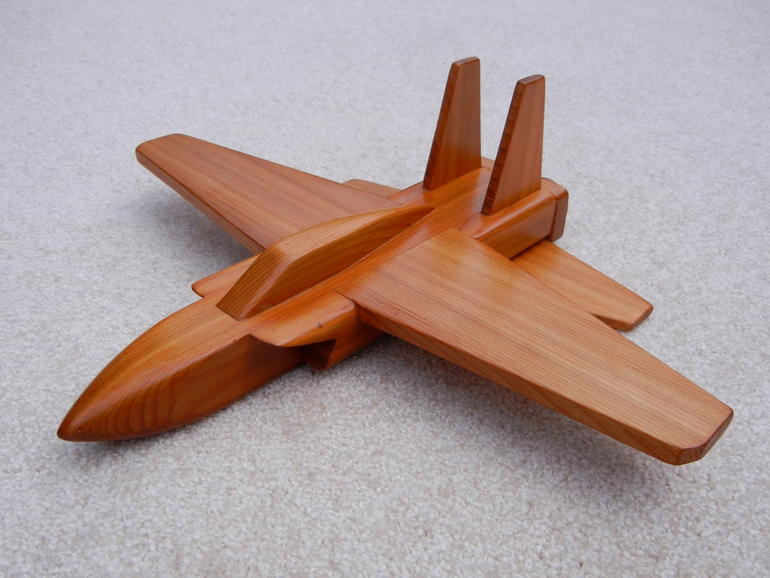 Wooden Jet Airplane Toy Cedar Wood by WoodworksByJim on Etsy