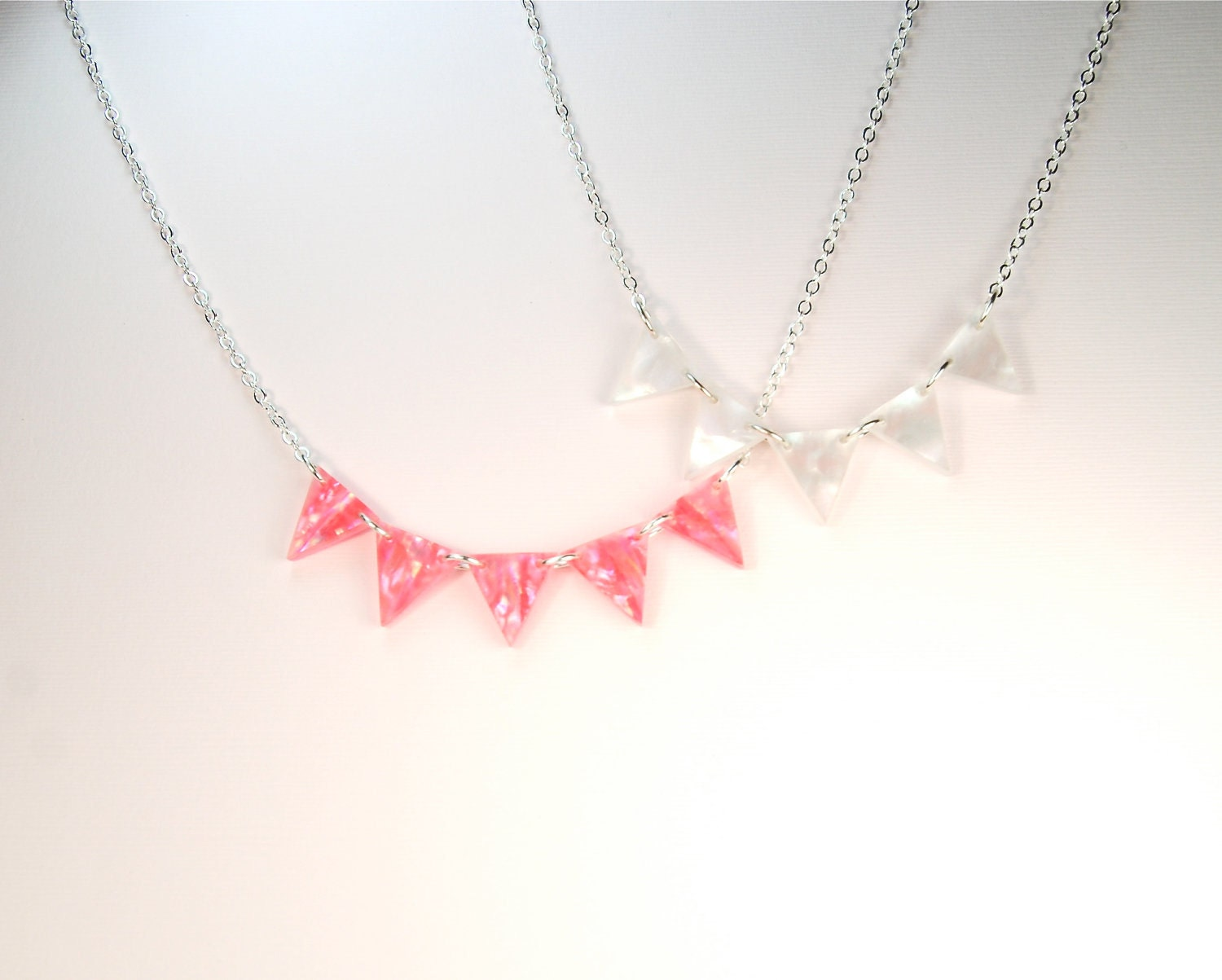 Pink Modern Geometric Triangle Pennant Necklace