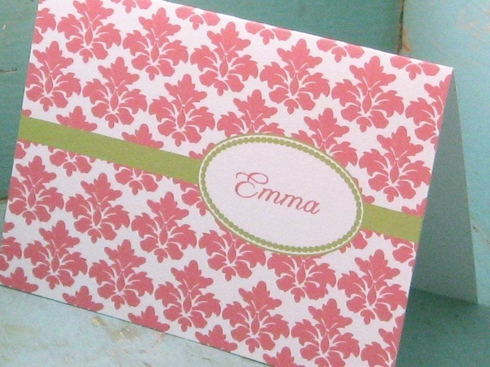 Cute, Casual Damask Cards - Set of 12