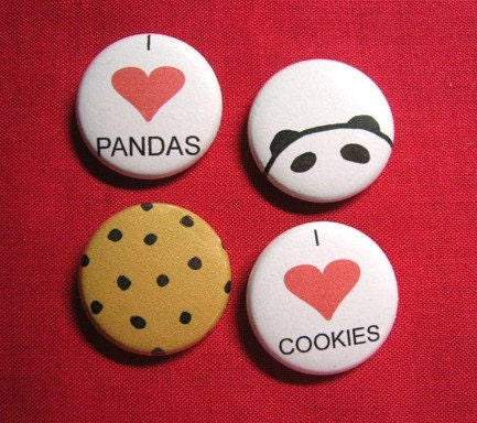 Set of 4 One Inch Pins- Pandas and Cookies
