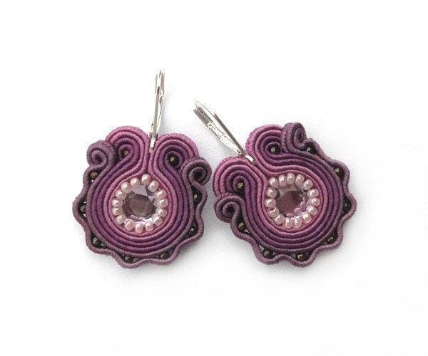 Purple ombre floral earrings flower flowers spring hand embroidered earrings soutache earrings - mintESSENCE