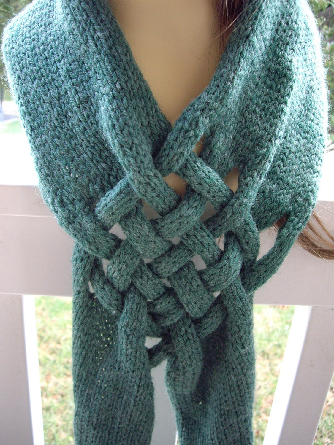 Celtic Knot Scarf Knitting Pattern : Forest Green Heather Celtic Knot Knit Scarf Breast by AntiChristy