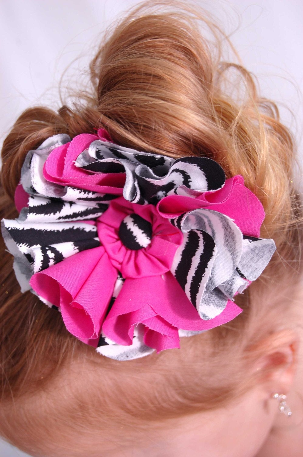 Zebra and Pink Fabric Hair Bow