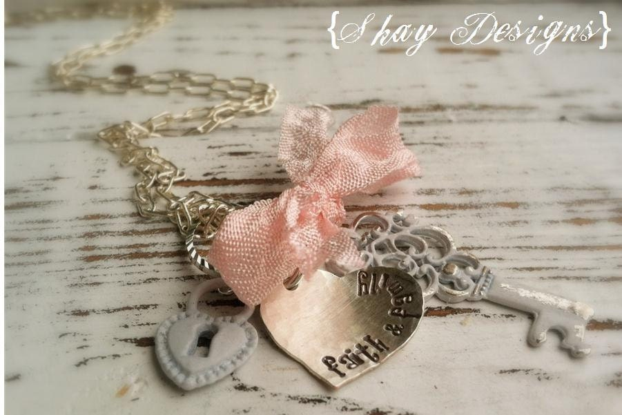 Stamped Faith & Family Necklace Vintage Key