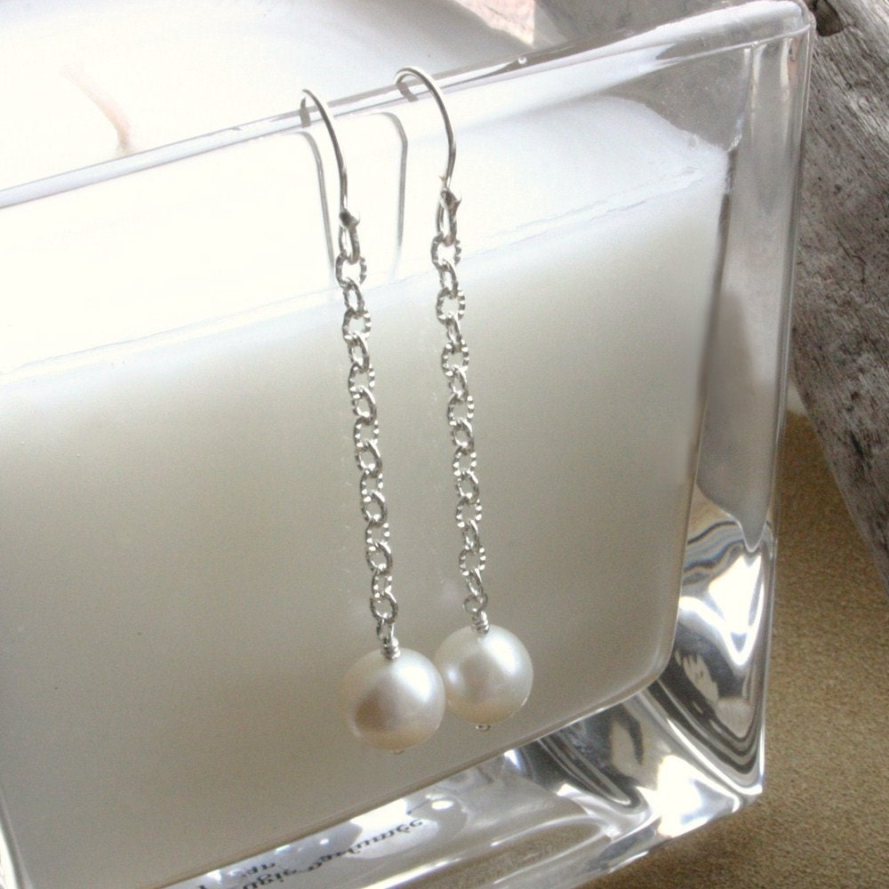 Handmade Freshwater Pearl Sterling Silver Chain Earrings - Whispers of Love