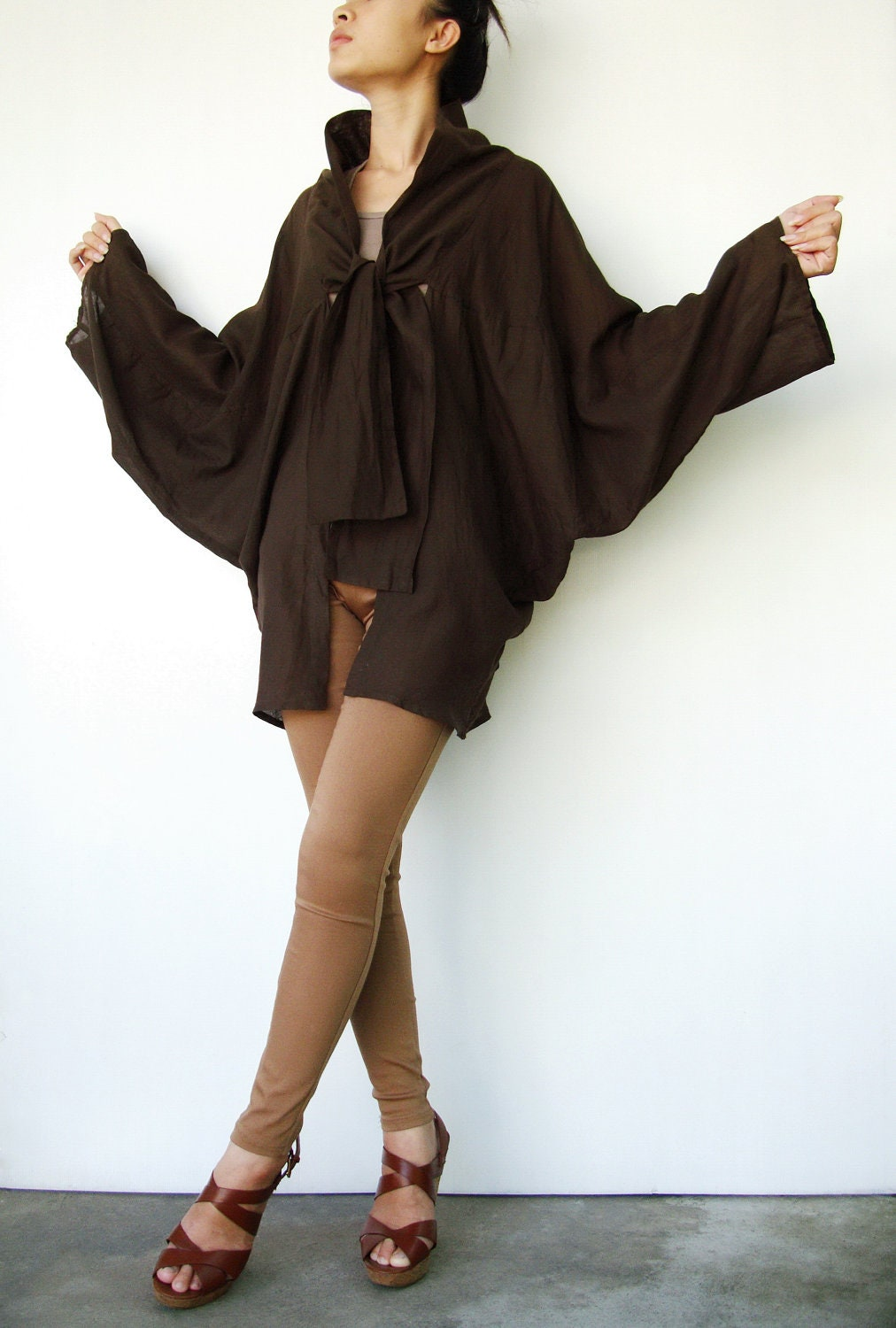 NO.89    Dark Brown Cotton Kimono Blouse Tie  Front  Collar Cardigan - JoozieCotton