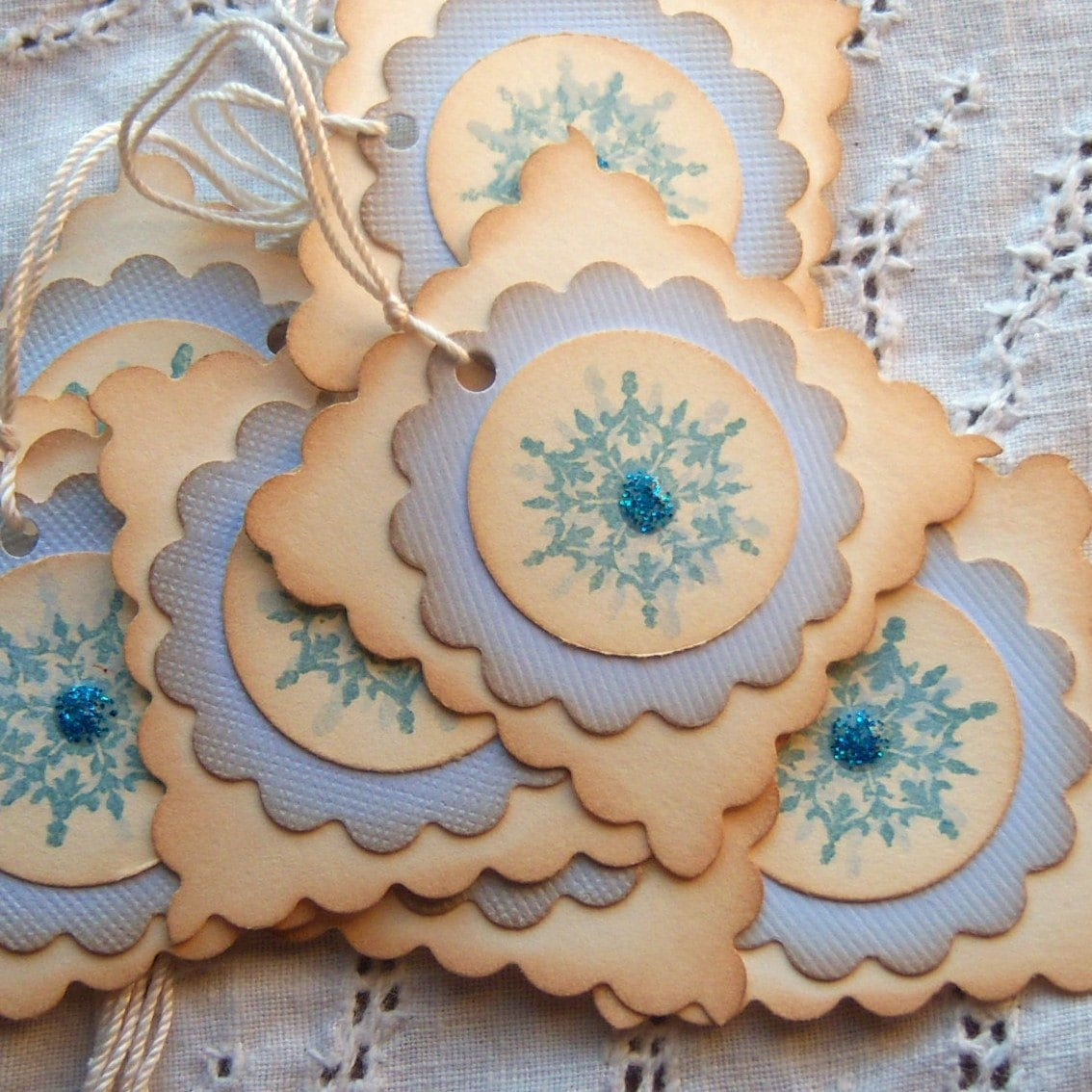 Shimmery Snowflake Hang Tags- Shabby Chic