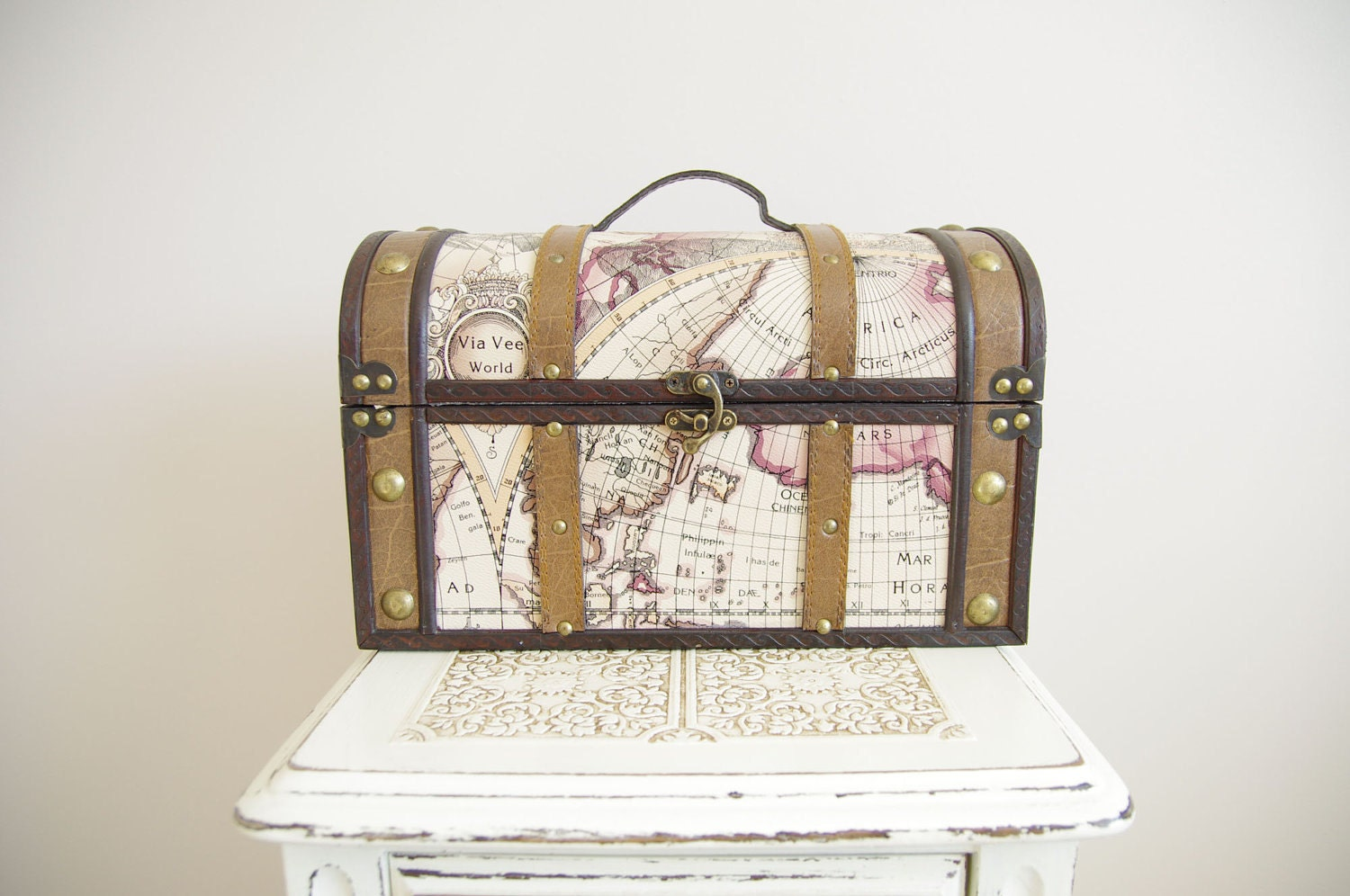 Large Trunk with Map - Wedding Card Box - Travel Themed, Vintage Style