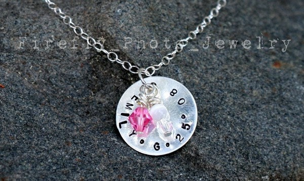 Hand Stamped Custom Sterling Silver NAME BIRTHDATE Necklace