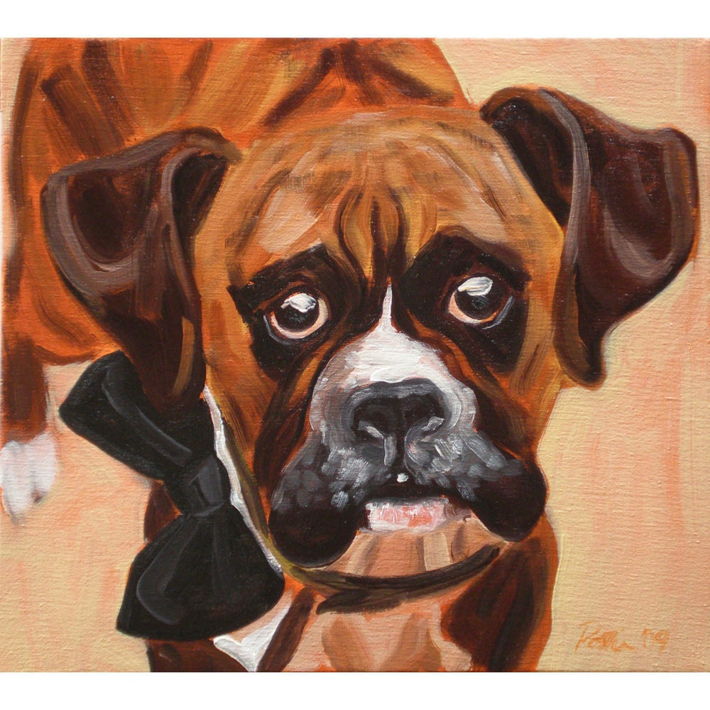Boxer pet portrait - where's the party- Signed archival Giclee Print 8x10