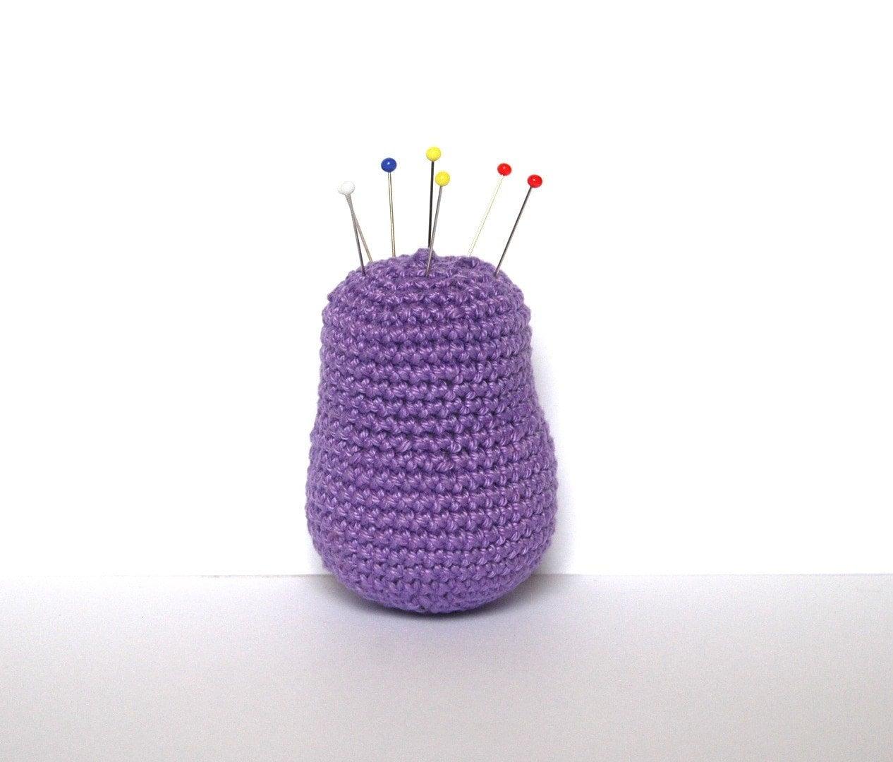 Matryoshka crocheted pin cushion  purple by SpacejamHandmade from etsy.com