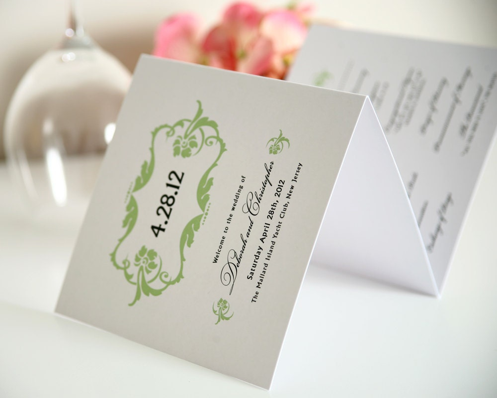 Lavish Ornament Tri Fold Wedding Programs Sample in Garden Green on Pearl Shimmer Luxury Cardstock
