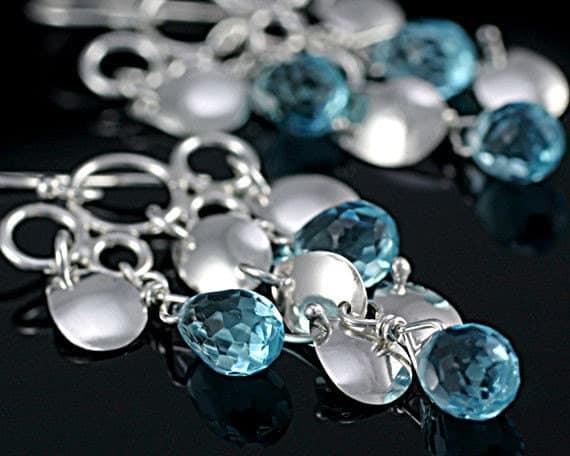 Sassy rain drop chandelier earrings with blue quartz, Argentium sterling silver