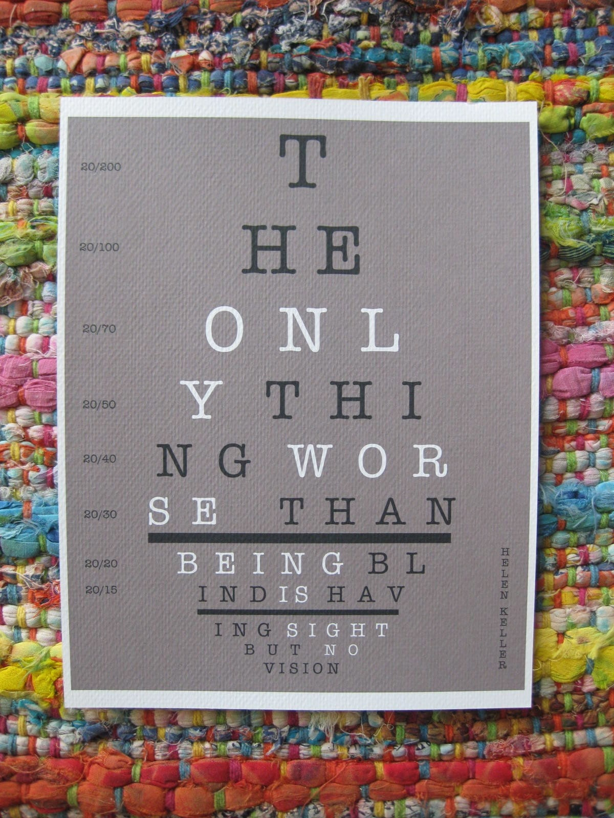 Helen Keller Eye Chart Quote - 8.5x11 Textured Stock Print