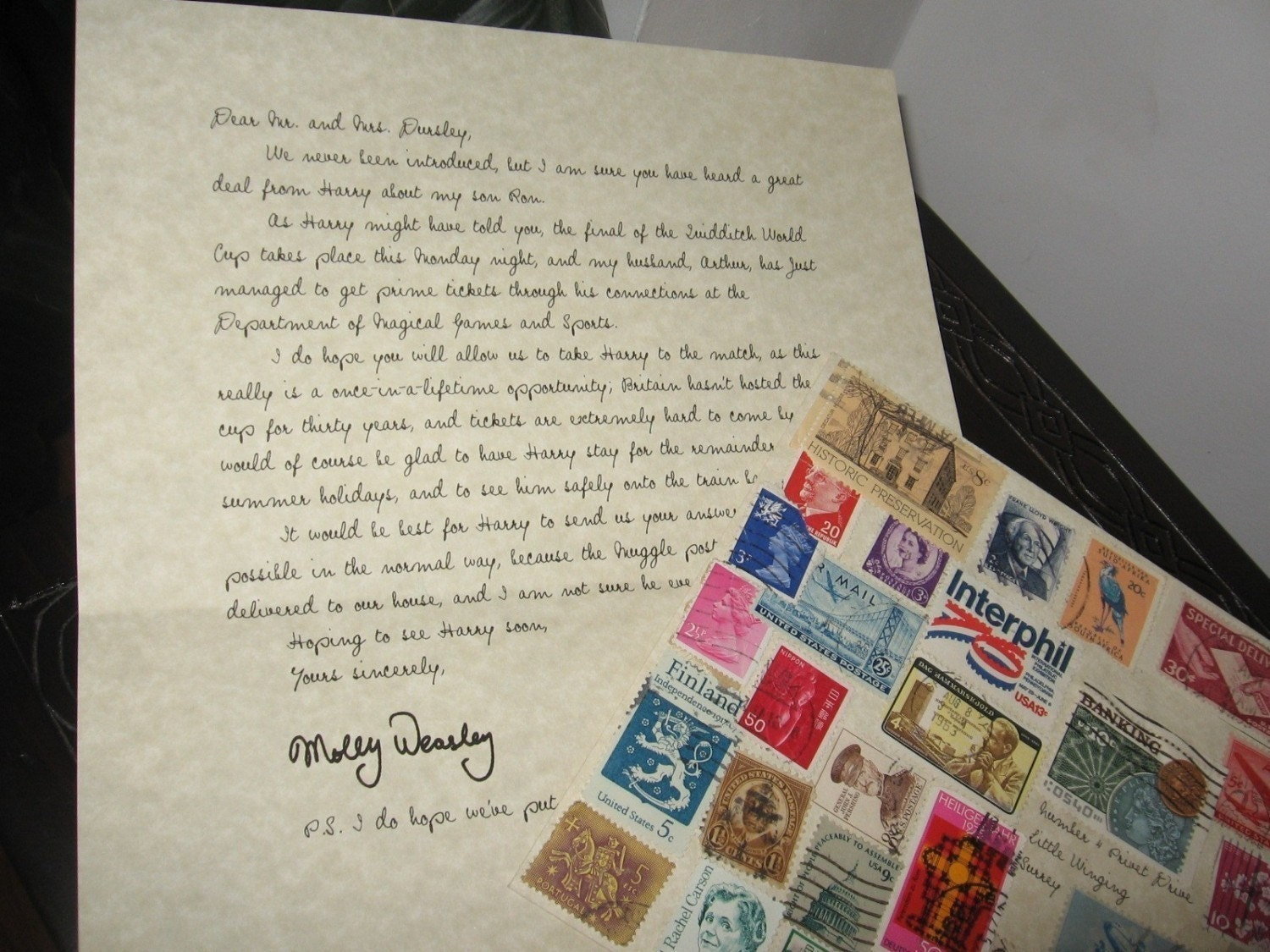 Quidditch World Cup Invitation from Molly Weasley to Harry Potter, Goblet of Fire