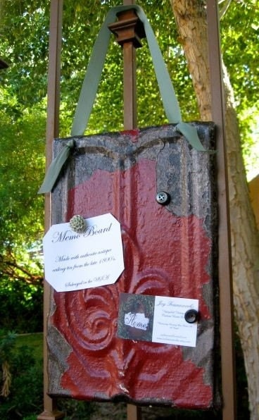 Red Hot FLEUR DE LIS Magnetic Inspiration Memo Board made with Antique Celing Tin // Ready to SHip//