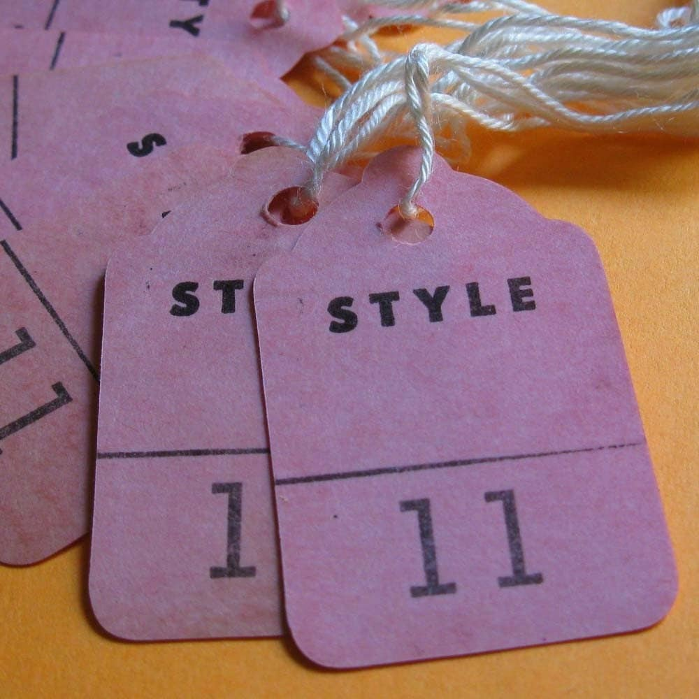 Vintage Tags, Die Cut String Tages, STYLE 11