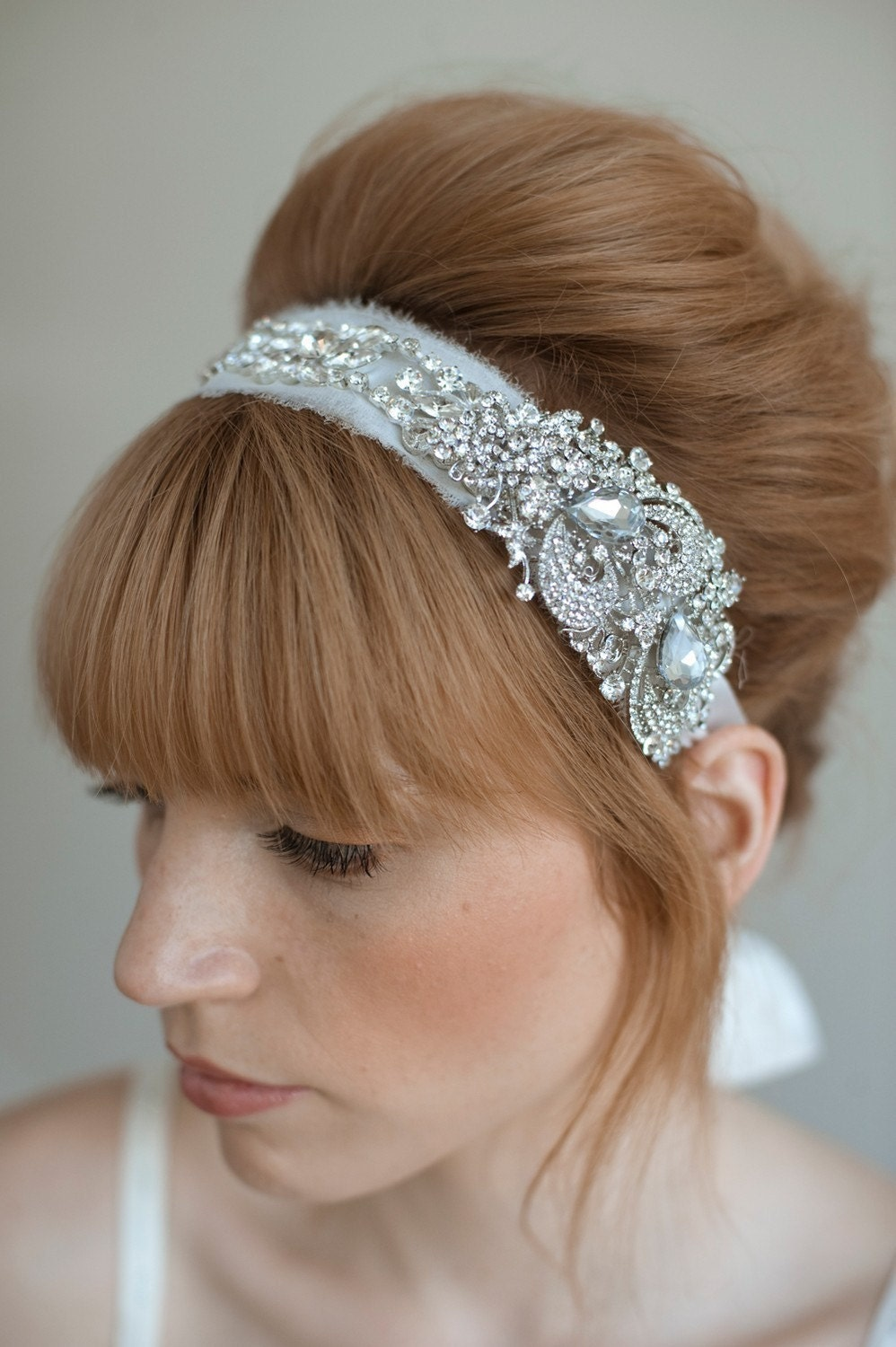 Rhinestone adorned silk chiffon headband - Style 011 - Made to Order