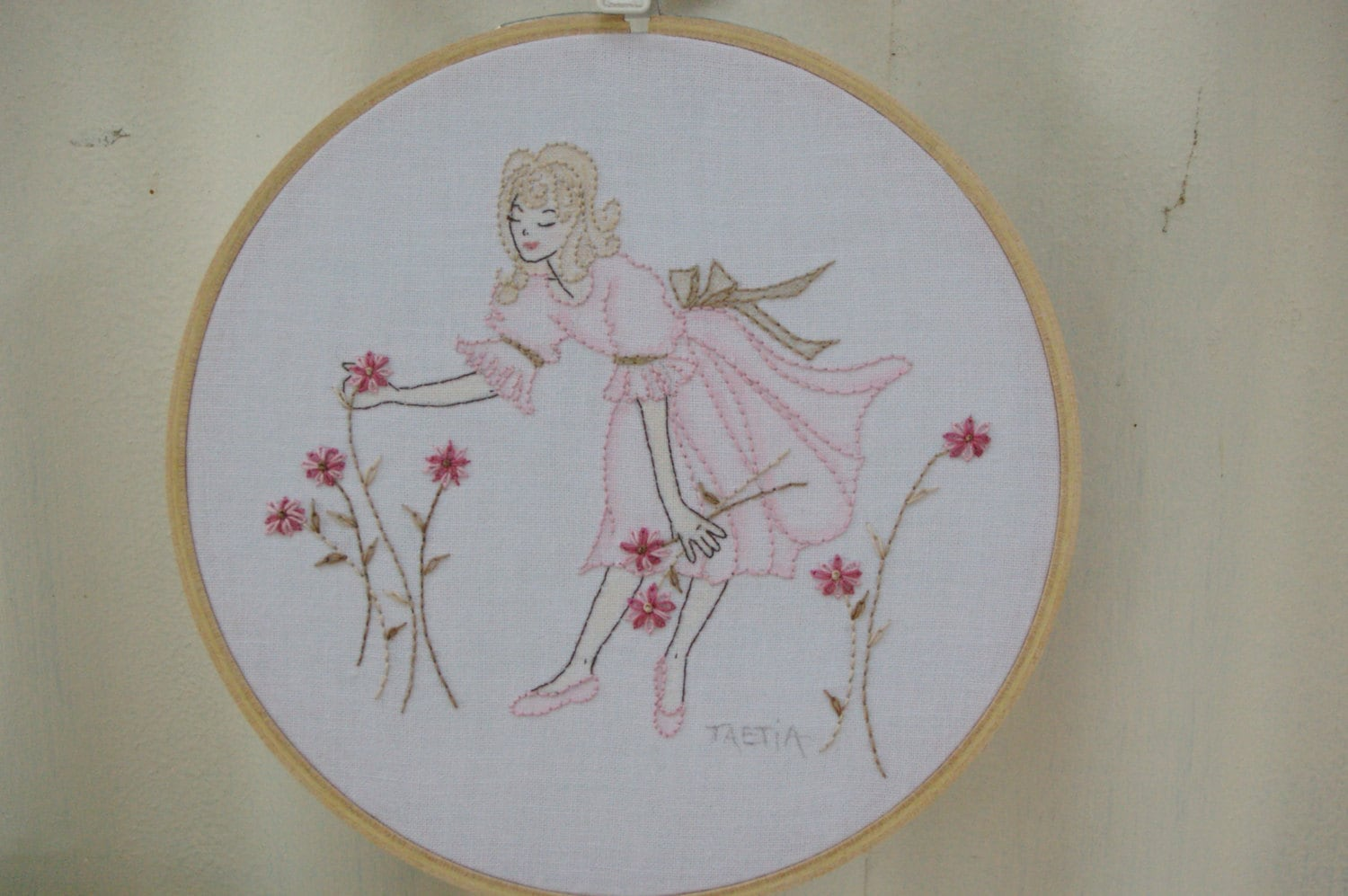 Items similar to hand embroidered girl embroidery